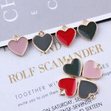 10Pcs Alloy Enamel Heart Charms Pendant DIY Necklaces Bracelets Jewelry Making