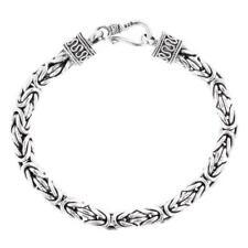 "6MM MENS BYZANTINE BALI SOLID 925 STERLING SILVER CHAIN ANKLET bracelet, 6-10"""