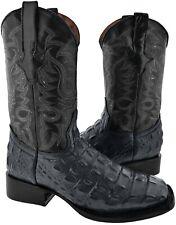 Mens Gray Alligator Back Cut Print Western Rodeo Cowboy Boots Square Toe