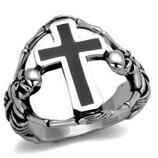 Elegant Design Stainless Steel Epoxy Black Cross Ring No Stone 8 - 13 TK2313