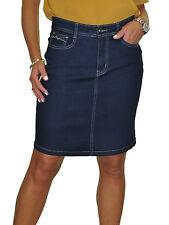 NUOVO Stretch Denim jeans sopra al ginocchio Gonna Di Paillettes Tasca Blu Indaco 8-20