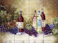 Ceramic Tile Mural Backsplash Davenport Wine Grapes Art POV-WDA006