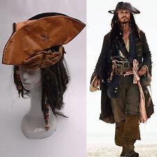 Pirates of the Caribbean Jack Sparrow Tri Corner Buccaneer Cappelli Parrucca set