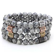 Fashion Men Micro Pave CZ Hexagon Gray Map Stone Picasso Jasper Beaded Bracelet