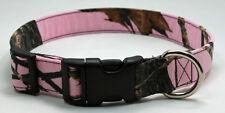 Pink Mossy Oak Camo Camouflage Fabric Dog Collar Adjustable Handmade Designer