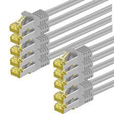 10 x RJ45 Patchkabel S/FTP PiMF m. CAT7 Rohkabel LAN Kabel Netzwerk 0,25m - 30 m