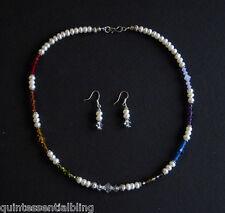 Bali Silver Genuine White Pearl & Swarovski Elements Crystal Chakra Necklace