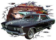 1964 Black Buick Riviera Custom Hot Rod Diner T-Shirt 64 Muscle Car Tee's