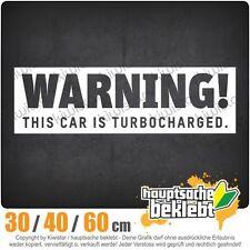 Warning! This Car is turbocharged chf0258  in 3 Größen   Heckscheibe Aufkleber