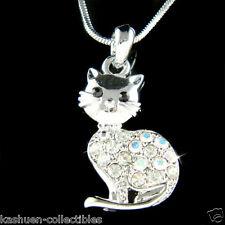 w Swarovski Austrian Crystal ~Kitty Cat Kitten animal pet Charm Pendant Necklace