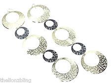 Last One! Hip Hop Club Gold & Black Hoop Dangle Earrings