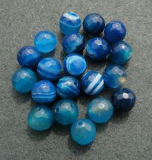 Blue Stripe Striped Agate Round Faceted Semi-Precious Gemstone Beads, 6mm & 8mm