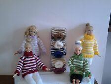 Hand Knitted Muñecas Barbie/Sindy Grueso A Rayas Falda o puentes..