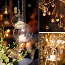 UK Clear Hanging Glass Bauble Ball Tealight Candle Holder Wedding Garden Decor U