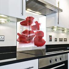 Splashback Paraschizzi Paraspruzzi Rivestimento Cucina fiore natura rosso