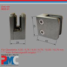 Zink Roh Glashalter Anschluss flach Glasklemme Glass Clamp Zinkdruckguss