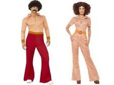 Adults 70s Disco Retro Costume Sonny & Cher Groovy Fancy Dress