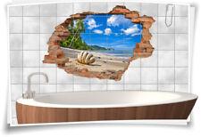Fliesenaufkleber Fliesenbild Fliesen Wand Durchbruch Aufkleber Strand Sand Bad
