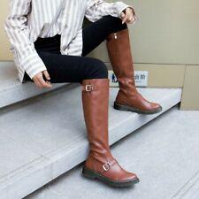 Women's British Riding Leather Mid Calf Shoes Side Zipper Biker Knee High Boots