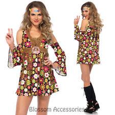 CA79 Starflower Hippie 1960s Disco Hippy 70s Fancy Dress Up Groovy Party Costume