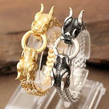 Heavy Dragon Heads Silver Gold Stainless Steel Franco Chain Cuban Men Bracelet