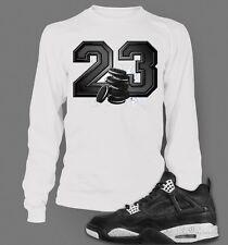 Tee shirt to Match Retro  AIR JORDAN 4 OREO Long Sleeve Mens  Tee White S-7XL