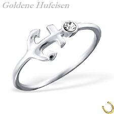 Kristall Anker Ring 925 Echt Silber Damen Geschenkidee xc057
