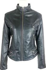 UNICORN Femmes Court Mode Réel cuir veste - Noir #GD