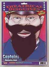 Captains Beard Mustache Moustache Costume Facial Hair Goatee Black Pirate Adult