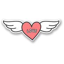 2 X 15 Cm Amor Corazón Con Alas pegatina de vinilo Niñas Casco Auto Moto Rosa # 5727