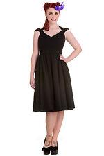 Sale! XS Black Check Polka Dot Cotton Dress Eveline Cotton Summer Tea UK 8