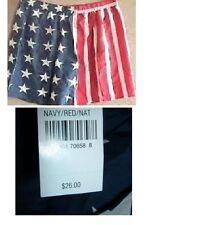 NWT SILK BOXER SHORTS U.S. FLAG red white & blue  $26 tags S M L XL PURE SILK