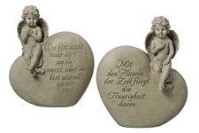 Grabschmuck Engel auf Herz mit Spruch (464890) NEU Trauerengel Grabengel