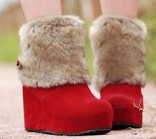 Botines botas zapatos de mujer de cuña 8.5 cm como piel cómodo caldi rojo 9074