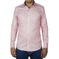 Camisa Casual Hombre Slim Algodón Micro-patrón Rosa Manga Larga Collar SARANI