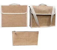 New Jute Hessian Plain Book Bag Files Carrier Laptop Bag Pencil Case Bag