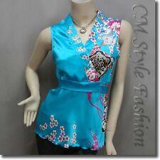 Japanese Kimono Sleeveless Floral Silky Satin Tank Top Blue S/M/L/XL/2XL/3XL