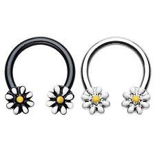 Daisy Flowers Horseshoe Ring Circular Barbell Septum Piercing Jewelry 16G/14G