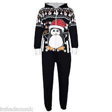Kids Boys Girls Black Penguin Christmas Fleece A2Z Onesie One Piece Jumpsuit