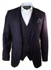 Mens Violet Herringbone Tweed Vintage Slim Fit Blazer Jacket Black Trim Smart Ca