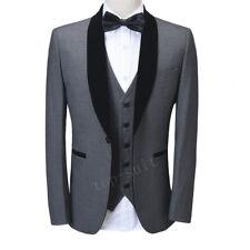 Men's Gray 3 Piece Suit Velvet Lapel Tuxedos Wedding Dinner Business Prom Suit