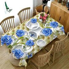 Unique Blue Rose 3D Tablecloth Table cover Cloth Rectangle Wedding Party Banquet