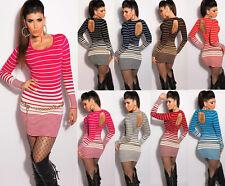 vestito mini abito in Maglia KOUCLA MAGLIONE LUNGO pullover catena sexy schiena