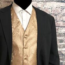 Mocha Tan XS - 6XL Paisley Tuxedo Suit Dress Vest Waistcoat Wedding Party Prom