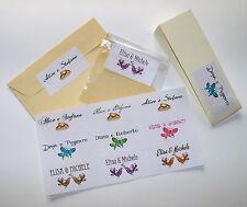 12 ADESIVI ETICHETTE PERSONALIZZATE sposi matrimonio - fedi farfalle uccellini