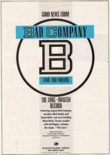 "1986 BAD COMPANY ""FAME AND FORTUNE"" ALBUM PROMO AD"