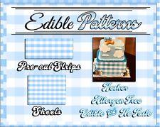 Blue gingham pattern Edible Cake Strips Sugar wrap toppers sheet flannel checker