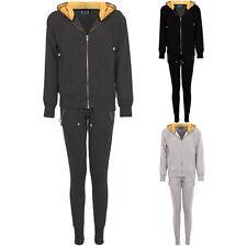 Damen Gold Fleece Einsatz Jogginghose Luxus Reißverschluss Kapuzenpullover Jacke Trainingsanzug Set