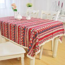 yazi Red Boho Crochet Lace Cotton Linen Tablecloth Table Cover Tea Bedside Cloth