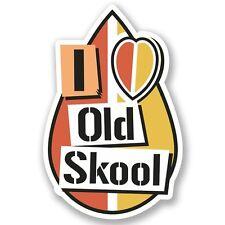 2 X I Love Old Skool Adesivo Vinile Portatile da Viaggio Bagaglio #4932